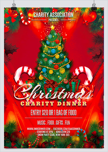 Printable Christmas Charity Event Party Flyer