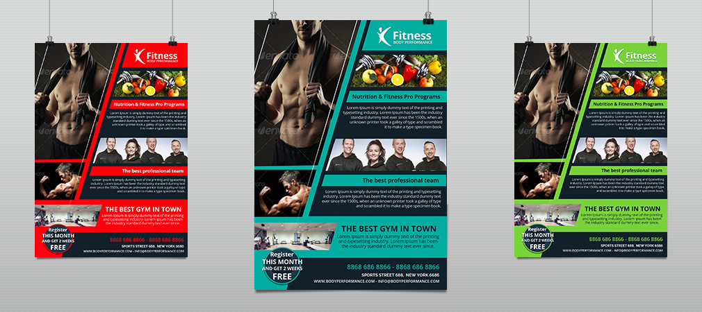 Fitness gym body performance flyer hollymolly for Fitness brochure templates