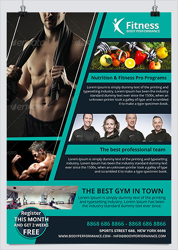Fitness, Gym & Body Performance Flyer