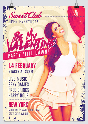 Free Be My Valentine Party Flyer Template