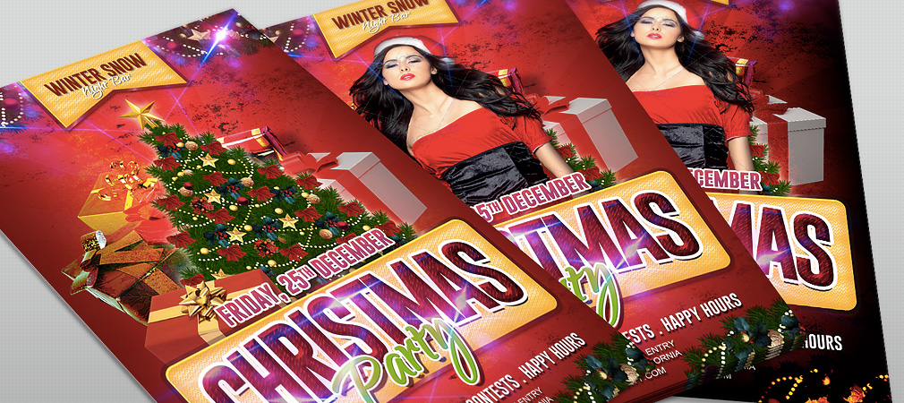 Free Christmas Party Flyer by HollyMolly