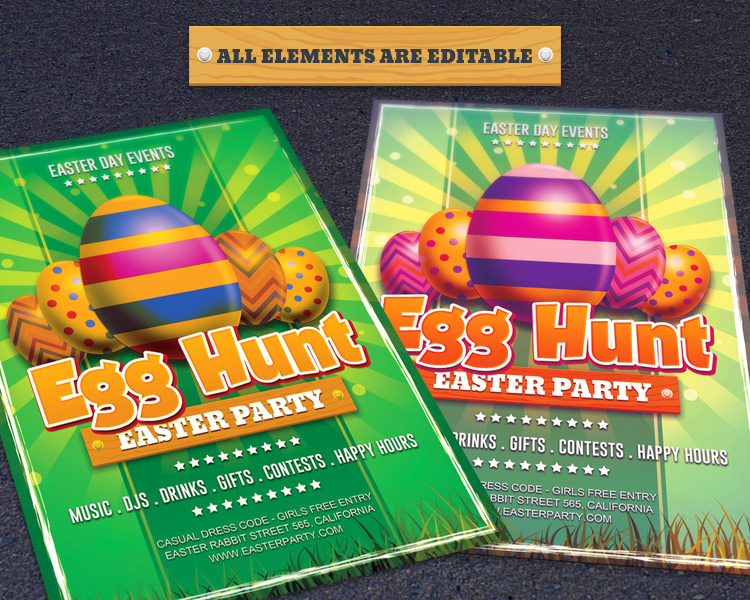 Free Easter Day Egg Hunt Photoshop Flyer