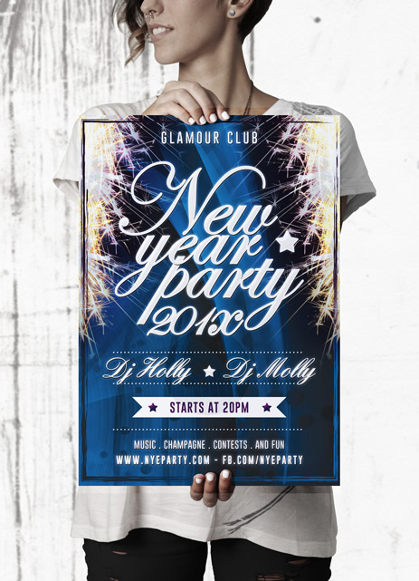 Free New Year Party Flyer Template mockup