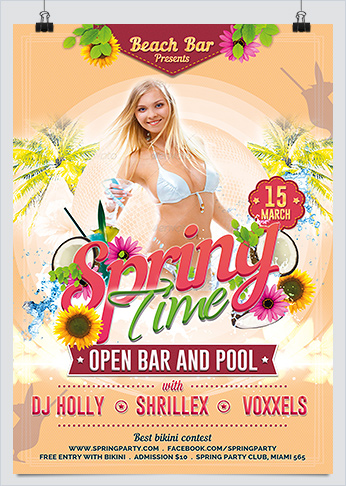 Fresh Spring Time Party Flyer  Hollymolly