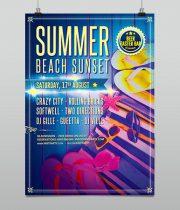 Summer Beach Sunset Party Flyer Template