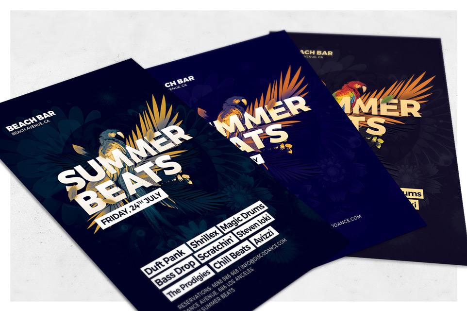 glam summer beats flyer template