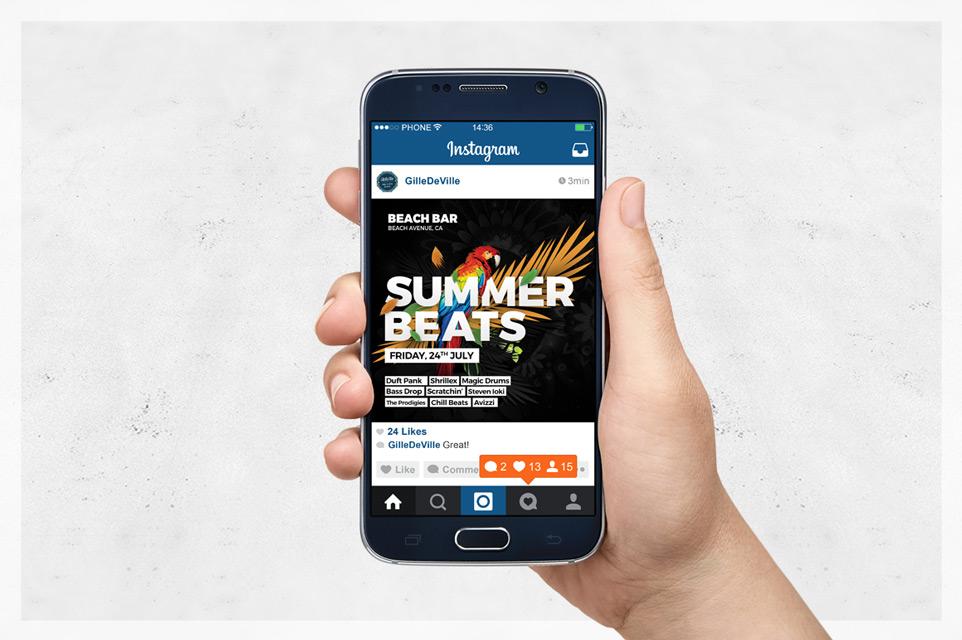 glam summer beats instagram banner template