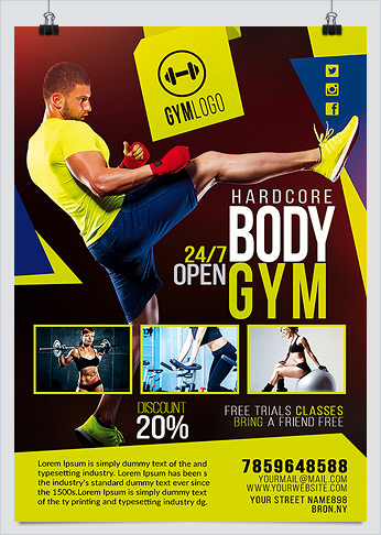 Gym Fitness Flyer PSD