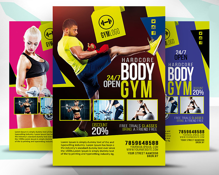 Printable Gym Fitness Flyer PSD