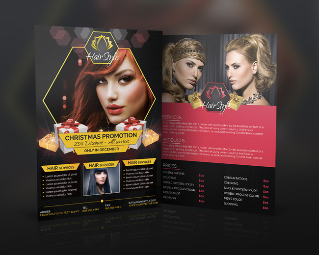 Hair Salon Fashion Christmas Advertising Pack