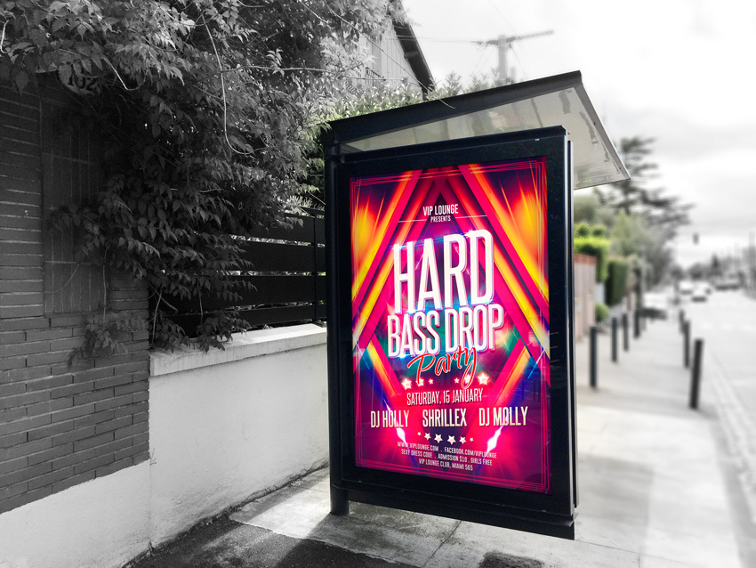 Hard Bass Drop Party Flyer