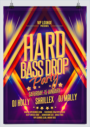 Hard Bass Drop Party Flyer Template