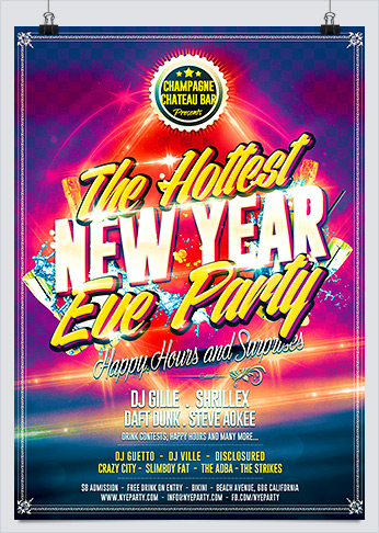 Printable Hot New Year Eve Party Flyer