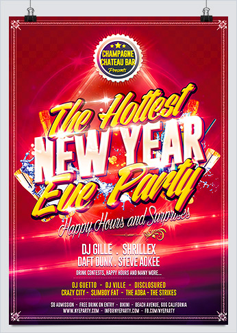 Hot New Year Eve Party Flyer Template