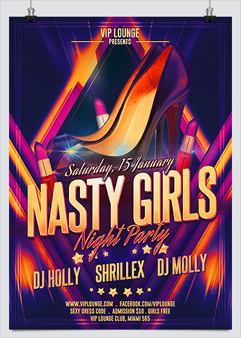 Nasty Girls Night Out Party Photoshop Flyer
