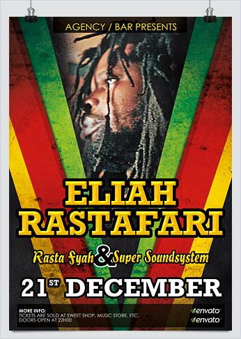 Reggae Jamaican Party Flyer Template - HollyMolly!