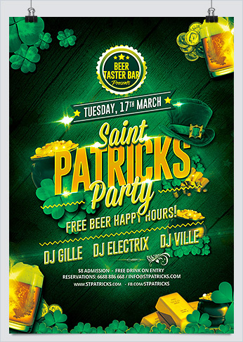 Saint Patricks Party Flyer PSD Template