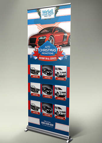 Sales and Services Christmas Promotions Rol Up Banner