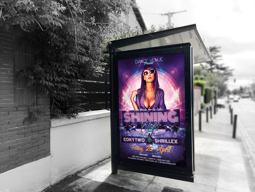 Shining Nights Dance Party Flyer mockup