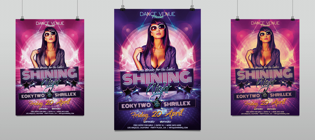 shinning nights party psd template