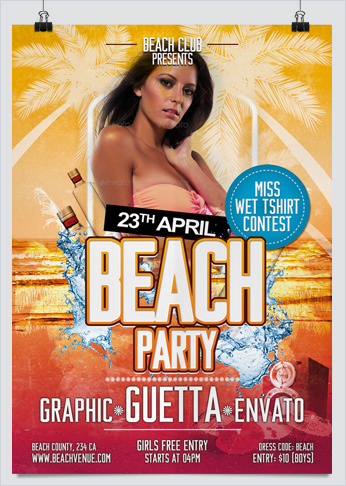 Spring Break and Beach Party Flyer