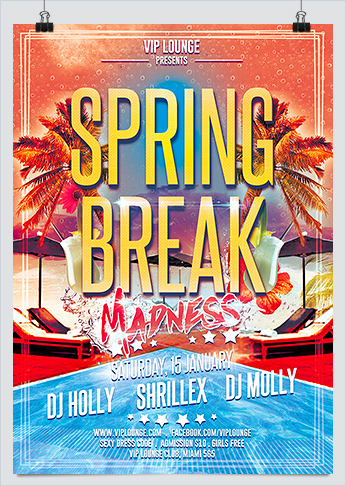 Spring Break Madness Party Flyer Template