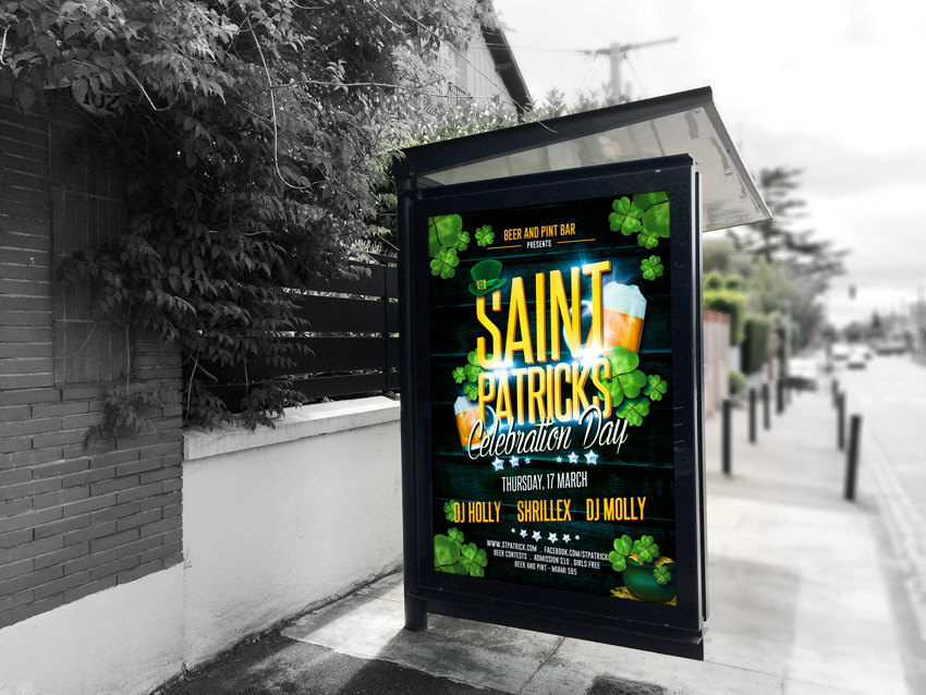 St. Patricks Celebration Party Flyer Mock up
