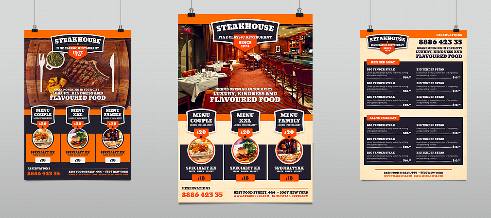 Steakhouse Restaurant Food Promotion Flyer