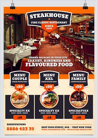 Steakhouse Restaurant Food Promotion Flyer Hollymolly