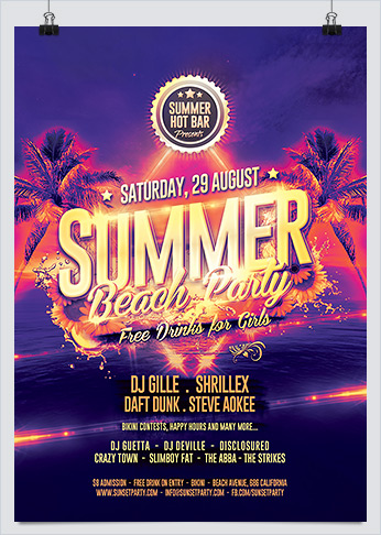 Summer Beach Party Event Flyer Hollymolly