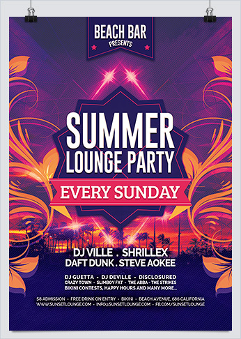 Summer Beach Party Flyer Template - Hollymolly!