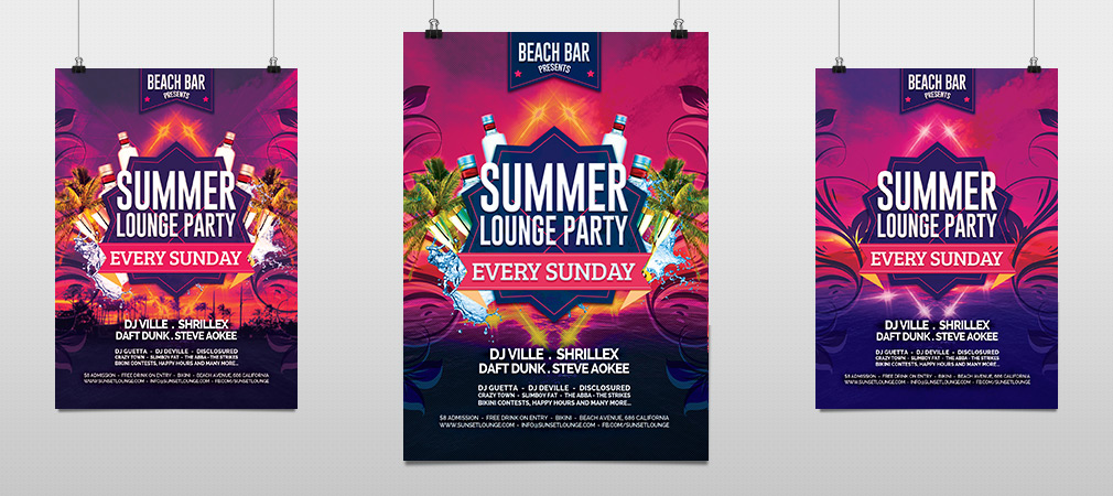 Summer Beach Party Flyer Template  Hollymolly