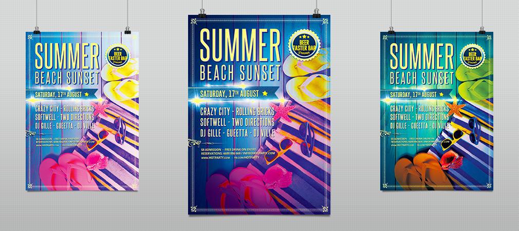 summer beach sunset party flyer template hollymolly