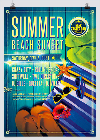 Summer Beach Sunset Party Flyer PSD Template