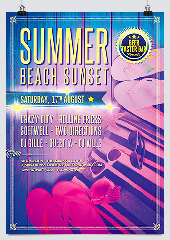 Printable Summer Beach Sunset Party Flyer Template