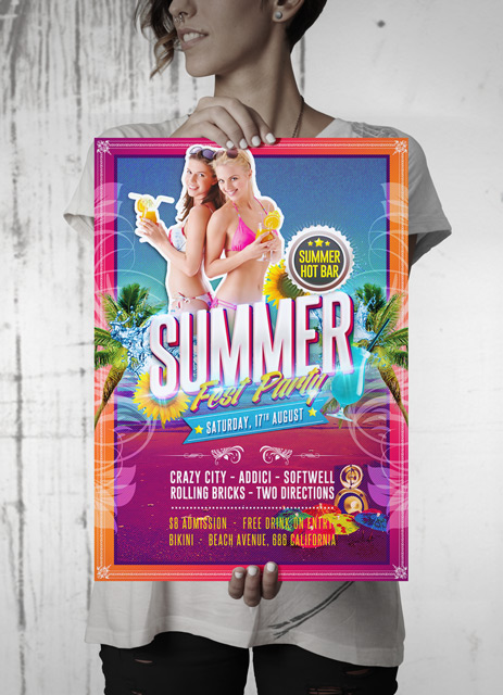 Summer Hot Fest Party Flyer mockup