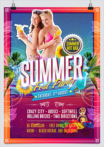 Summer Hot Fest Party Flyer template