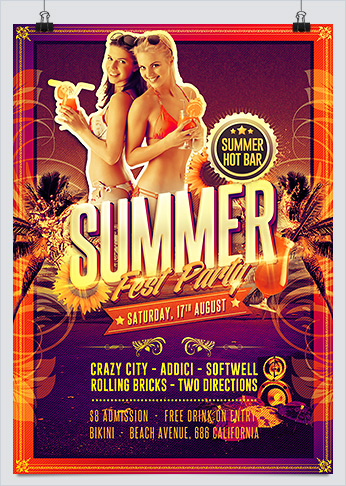 Summer Hot Fest Party Flyer PSD Template