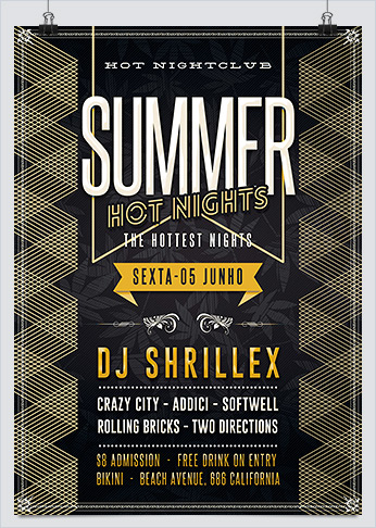 Summer Hot Nights Party Flyer PSD Template