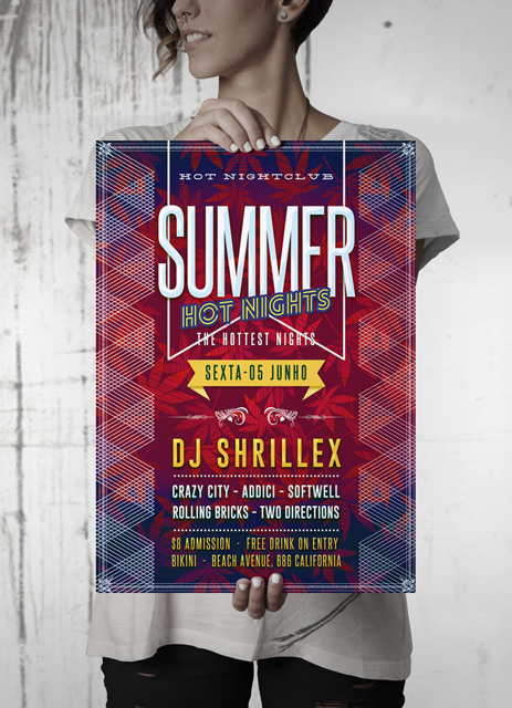 Summer Hot Nights Party Flyer realistic mockup