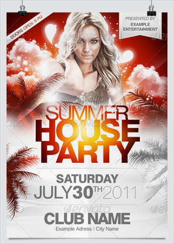 Summer beach party flyers collection 1 hollymolly summer house party flyer template for a fresh flyer design in 3 different colors for a hot party or any other mainstream event saigontimesfo