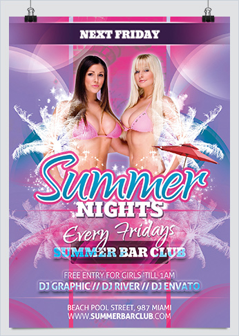 Summer Nights Dance Party Flyer