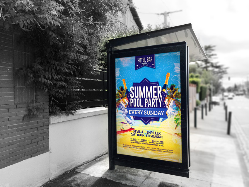 Summer Pool Party Flyer Print Mockup