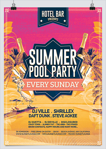 Summer Pool Party Photoshop Flyer