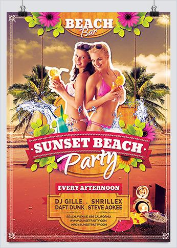 Summer Sunset Beach Party Flyer