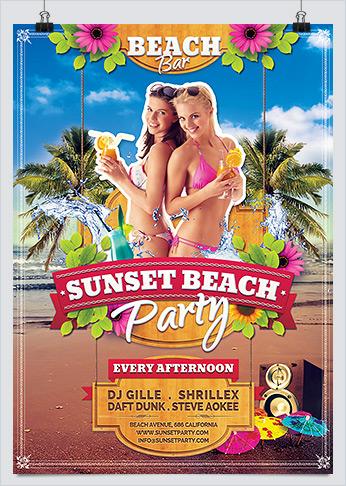 Printable Summer Sunset Beach Party Flyer