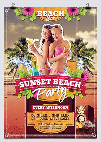 Print Ready Summer Sunset Beach Party Flyer