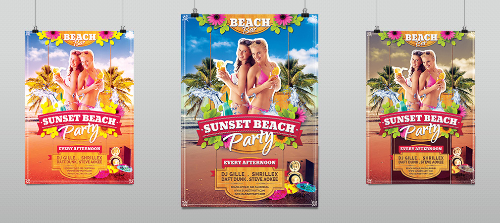 Summer Sunset Beach Party Flyer