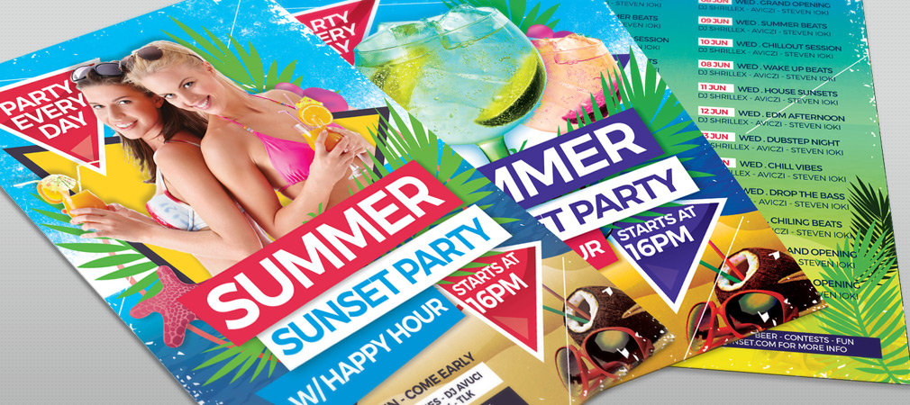 Free Summer Sunset Party Flyer Template