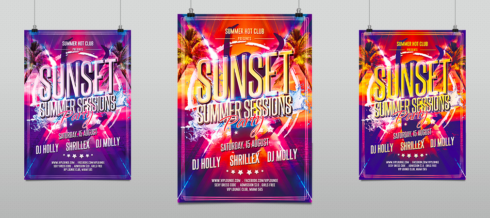 summer sunset sessions party flyer